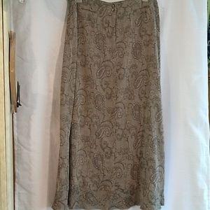 J. Jill Linen Blend Long Black Gray Skirt 16 Tall
